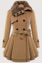 Camel Fashion Elegant Buckle With Belt Turndown Collar Outerwear