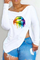 White Fashion Casual Lips Printed Slit Asymmetrical Off the Shoulder Tops