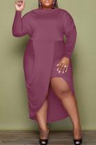 Fuchsia Sexy Solid Split Joint O Neck Irregular Dress Dresses