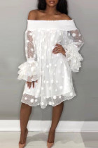 White Sexy Sweet Party Cute Solid Polka Dot Mesh Off the Shoulder Cake Skirt Dresses