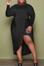 Black Sexy Solid Split Joint O Neck Irregular Dress Dresses