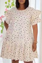 Apricot Fashion Casual Dot Print Split Joint O Neck Short Sleeve Dress Dresses