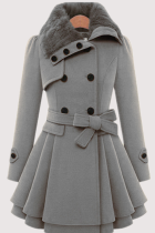 Grey Fashion Elegant Buckle With Belt Turndown Collar Outerwear