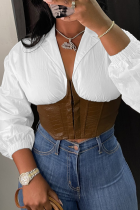 White Sexy Solid Zipper V Neck Tops