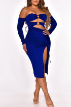 Blue Sexy Solid Hollowed Out Split Joint Frenulum Metal Accessories Decoration Fold Strapless One Step Skirt Dresses