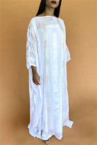 White Fashion Casual Solid Hot Drill O Neck Long Dress Plus Size Two Pieces