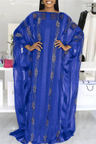 Blue Fashion Casual Solid Hot Drill O Neck Long Dress Plus Size Two Pieces