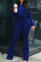 Blue Casual Solid Split Joint Draw String Zipper Zipper Collar Long Sleeve Two Pieces