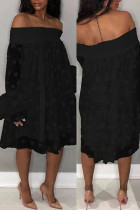 Black Sexy Sweet Party Cute Solid Polka Dot Mesh Off the Shoulder Cake Skirt Dresses