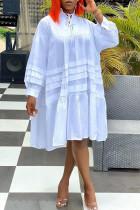 White Casual Solid Split Joint Frenulum Fold Turtleneck Dresses