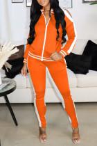 Orange Casual Sportswear Solid Hollowed Out Split Joint Zipper Zipper Collar Long Sleeve Two Pieces