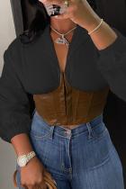 Black Sexy Solid Zipper V Neck Tops