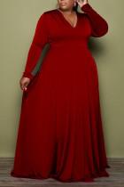 Burgundy Casual Elegant Solid Split Joint V Neck A Line Plus Size Dresses
