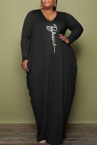 Black Casual Print Split Joint Fold O Neck Long Sleeve Plus Size Dresses