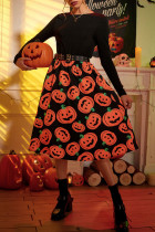 Black Casual Street Print Split Joint O Neck Long Sleeve Dresses