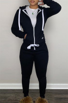 Black Fashion Casual Solid Zipper Hooded Collar Long Sleeve Two Pieces