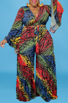 Multicolor Fashion Casual Print Bandage V Neck Plus Size Two Pieces