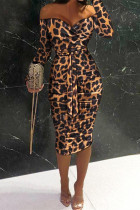 Leopard Print Sexy Casual Print Leopard Backless Off the Shoulder Long Sleeve Dresses