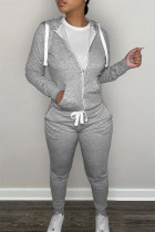 Grey Fashion Casual Solid Zipper Hooded Collar Long Sleeve Two Pieces