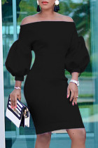Black Fashion Casual Solid Backless Off the Shoulder Long Sleeve Dresses