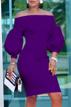 Purple Fashion Casual Solid Backless Off the Shoulder Long Sleeve Dresses