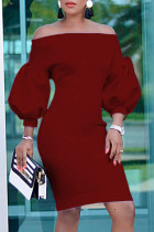 Burgundy Fashion Casual Solid Backless Off the Shoulder Long Sleeve Dresses