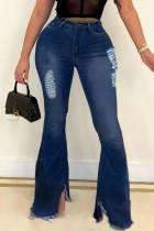 Dark Blue Fashion Casual Solid Ripped Denim Jeans