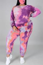 Purple Fashion Casual Print Tie Dye Backless O Neck Plus Size Two Pieces