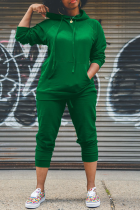 Green Street Solid Split Joint Hooded Collar Long Sleeve Two Pieces