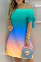 Green Fashion Casual Print Bandage Off the Shoulder Short Sleeve Dress Dresses