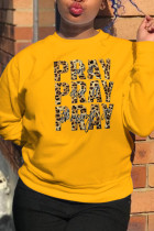 Yellow Street Daily Print Split Joint Letter O Neck Tops