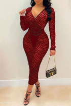 Burgundy Sexy Split Joint See-through V Neck One Step Skirt Dresses