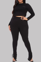 Black Fashion Casual Solid Draw String O Neck Plus Size Two Pieces