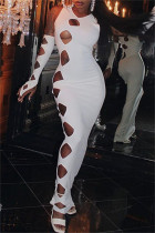 White Fashion Sexy Solid Hollowed Out V Neck Sleeveless Dress (With Gloves)