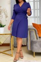 Deep Blue Casual Solid Split Joint V Neck Waist Skirt Dresses