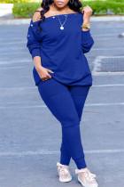 Blue Fashion Casual Solid Split Joint Oblique Collar Plus Size Two Pieces