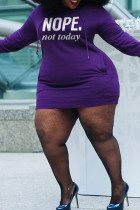 Dark Purple Fashion Casual Letter Print Basic Hooded Collar Long Sleeve Plus Size Dresses