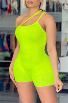 Green Yellow Sexy Casual Solid Color Suspender Skinny Romper