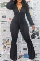 Black Fashion Casual Solid Bandage V Neck Boot Cut Jumpsuits