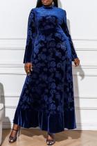 Blue Fashion Plus Size Solid Basic Mandarin Collar Long Sleeve Evening Dress