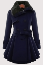 Navy Blue Fashion Elegant Buckle With Belt Turndown Collar Outerwear