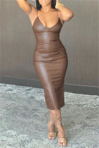 Brownness Fashion Sexy Solid Backless Spaghetti Strap Long Dress