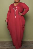 Red Fashion Casual Print Basic V Neck Long Sleeve Plus Size Dresses