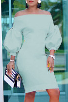 Sky Blue Fashion Casual Solid Backless Off the Shoulder Long Sleeve Dresses