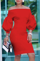 Red Fashion Casual Solid Backless Off the Shoulder Long Sleeve Dresses