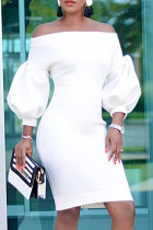 White Fashion Casual Solid Backless Off the Shoulder Long Sleeve Dresses