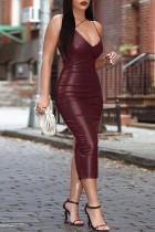 Burgundy Fashion Sexy Solid Backless Spaghetti Strap Long Dress
