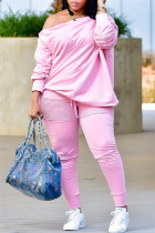 Pink Fashion Casual Solid Split Joint Oblique Collar Plus Size Two Pieces