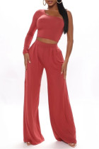 Red Fashion Casual Solid Backless Oblique Collar Long Sleeve Two Pieces
