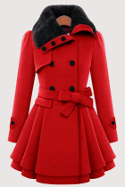 Red Fashion Elegant Buckle With Belt Turndown Collar Outerwear